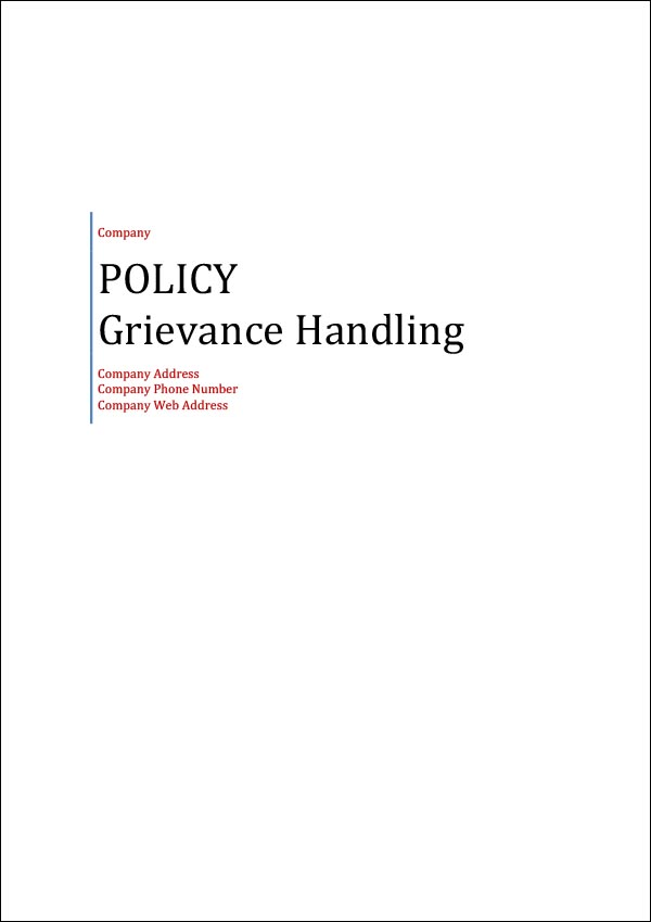 Image of Grievance Handling Policy Template Cover Page