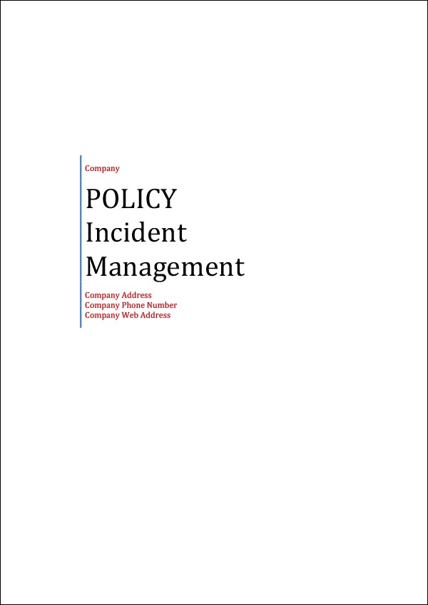 Image of Incident Management Policy Template Cover Page