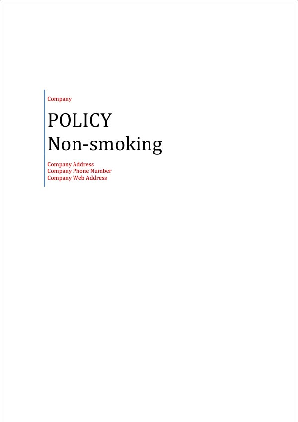 Image of Non-Smoking Policy Template Cover Page