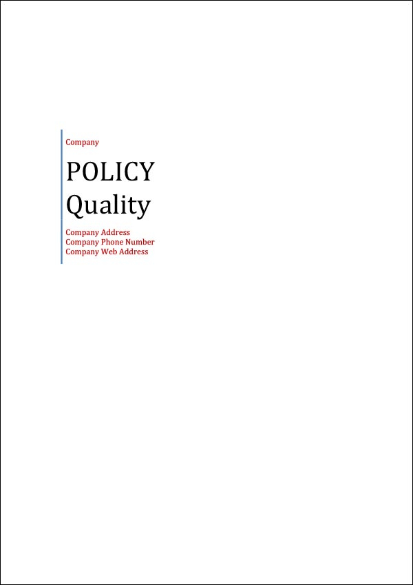 Image of Quality Policy Template Cover Page