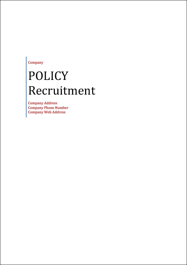 Image of Recruitment Policy Template Cover Page