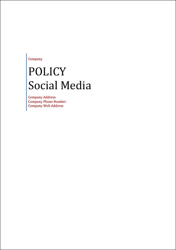 Image of Social Media Policy Template Cover Page