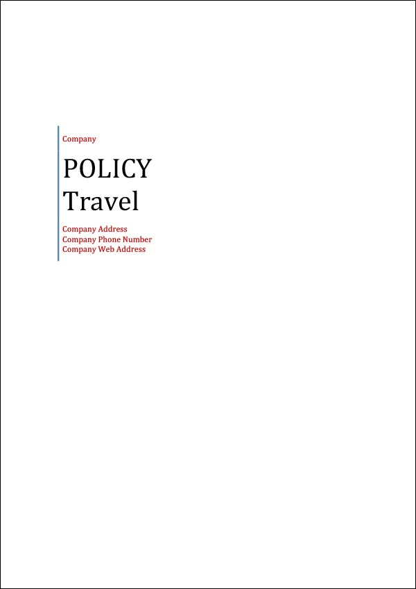 Image of Travel Policy Template Cover Page